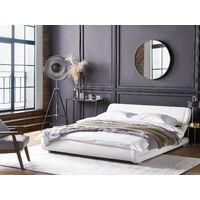 Waterbed Set Leather Upholstered Frame EU Super King 6ft Mattress White Avignon