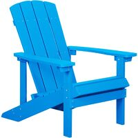 Outdoor Lounger Chair Blue Plastic Wood for Patio Yard Adirondack