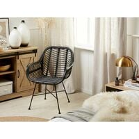 Modern Accent Chair Black Natural Rattan Wicker Metal Legs Living Room Canora