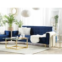 Modern 3 Seater Sofa Bed Navy Blue Velvet Reclining Tufted Aberdeen