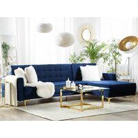 Modular Left Hand L-Shaped Corner Sofa Bed Navy Blue Velvet Tufted Aberdeen