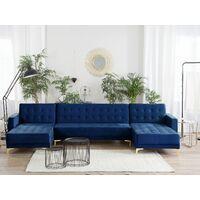 Modular U-Shaped Corner Sofa Bed 3 Seater 2 Chaises Navy Blue Velvet Aberdeen