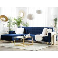 Modular Right Hand L-Shaped Corner Sofa Bed Navy Blue Velvet Tufted Aberdeen