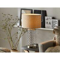 Classic Table Lamp Metal Oriental Silver Base Drum Faux Silk Beige Shade Balleza
