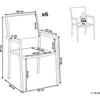 Set of 6 Modern Outdoor Garden Dining Chairs PE Rattan Steel Black Grosseto