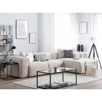 Modern Fabric Corner Sofa Polyester Extra Scatter Cushions Light Beige Dolva