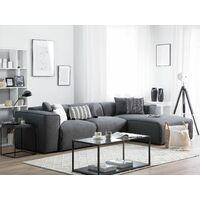 Modern Fabric Corner Sofa Polyester Extra Scatter Cushions Dark Grey Dolva