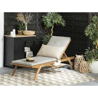 Polyester Outdoor Sun Lounger Cushion Water Resistant Garden Taupe Cesana