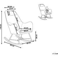 Modern Transitional Comfy Fabric Rocking Chair Wooden Skates Light Beige Arrie