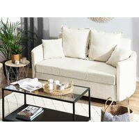 Modern Beige 2 Seater Sofa Bed Sleeping Function Profiled Armrests Hovin