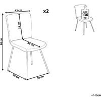 Modern Set of 2 Velvet Dining Chairs Armless Gold Metal Legs Grey Rubio