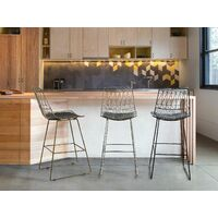 Metal Bar Chair Counter Height Stool PU Leather Seat Silver Preston