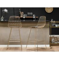 Set of 2 Bar Chairs Counter Height PU Leather Seat Gold Preston