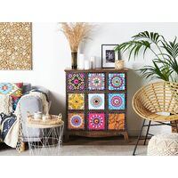 Moroccan Sideboard Cabinets Chest of Drawers Oriental Multicolour Dark Wood Kuma