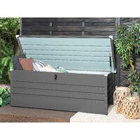 Garden Storage Box Grey Steel Lockable Lid 600L Cebrosa