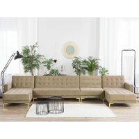 Modular U-Shaped Corner Sofa Bed 2 Chaises Seat Section Beige Velvet Aberdeen
