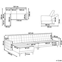 Modular Right Hand L-Shaped Sofa Bed Seat Section Sand Beige Velvet Aberdeen