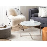 Glam Coffee Table Round 70 cm Marble Effect White Silver Legs Modern Quincy