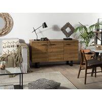 Modern 3 Door Sideboard Dark Wood Storage Cabinets Metal Grey Base Timber