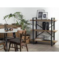 Industrial Open 3 Tier Bookshelf Dark Wood Black Metal Frame Timber