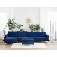 Modular Right Hand L-Shaped Sofa Bed Seat Ottoman Navy Blue Velvet Aberdeen