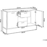 Industrial Cabinet with Drawers Dark Wood Metal Black Base Dresser Storage Tifton