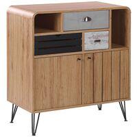 Sideboard Retro Vintage Style Cabinet Storage 2 Door 3 Drawers Light Wood Kyle
