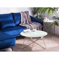 Coffee Table Hairpin Legs Tempered Glass Round Top White Gold Legs Meridian