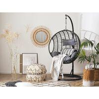 Boho Black Rattan Hanging Chair with Base Indoor-Outdoor Wicker Round Aspio