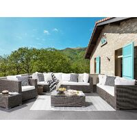 8 Seater Outdoor Lounging Set Faux Rattan with Cushions Taupe Maestro II