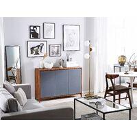 Retro Modern Sideboard Walnut with Grey 3-Door Cabinet Medfort
