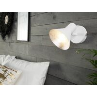 Set of 2 Wall Mounted Lamps Light Metal White with Silver Mersey I