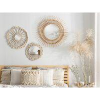 Wall Mirror Beige Boho Braided Cotton Rope Frame Living Room ø 55 cm Sinnar