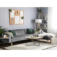 Velvet Left Hand Corner Sofa Bed Grey Buttoned Sleeper Vadso