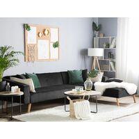 Velvet Left Hand Corner Sofa Bed Black Buttoned Sleeper Vadso
