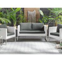 Modern 3 Piece Patio Sofa Set White Wicker Grey Cushions Crema