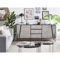 Modern Sideboard Concrete Effect Black Top Metal Legs Storage Cabinets Drawers Blackpool