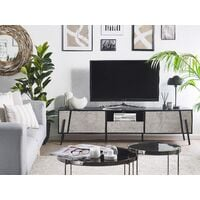 Modern TV Stand Concrete Effect Front Black Top Metal Legs Storage Cabinets Drawer Blackpool