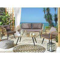 Rustic Country Conversation Sofa Set Faux PE Rattan Beige Grey Cushions Fobello