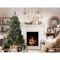Artificial Christmas Tree Pre Lit Black Stand Pine Cones 180 cm Green Jacinto