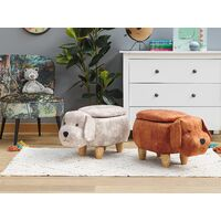 Kids Animal Stool Velvet Pouffe with Storage Wooden Legs Playroom Beige Doggy