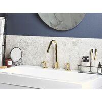 Modern Glossy Bathroom Basin Tap Mixer Sink Twin Levers Gold Kalambo