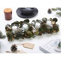 Traditional Wooden Candle Holder Pine Cones Christmas Decoration Green Pelso