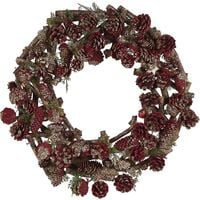 Traditional Christmas Wreath Twigs Pine Cones Synthetic 50 cm Dark Wood Red Filpus