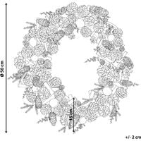 Traditional Christmas Wreath Twigs Pine Cones Synthetic 50 cm Green with Silver Filpus