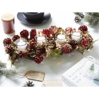 Traditional Wooden Candle Holder Pine Cones Christmas Decoration Red Pelso