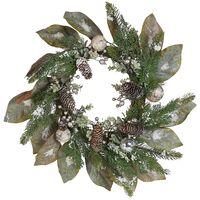 Traditional Christmas Wreath Twigs Pine Cones Synthetic Snow 60 cm Green TIEVA