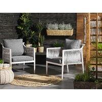 Outdoor Set of 2 Garden Chairs White Aluminium with Grey Cushions Latina