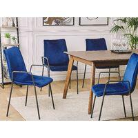 Set of 2 Velvet Dining Chairs Retro Living Room Upholstered Dark Blue Jefferson