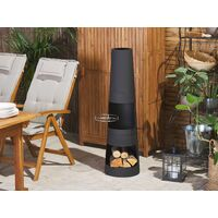 Modern Outdoor Charcoal Fire Pit Chimney Black Steel with Grill Grate Tromen